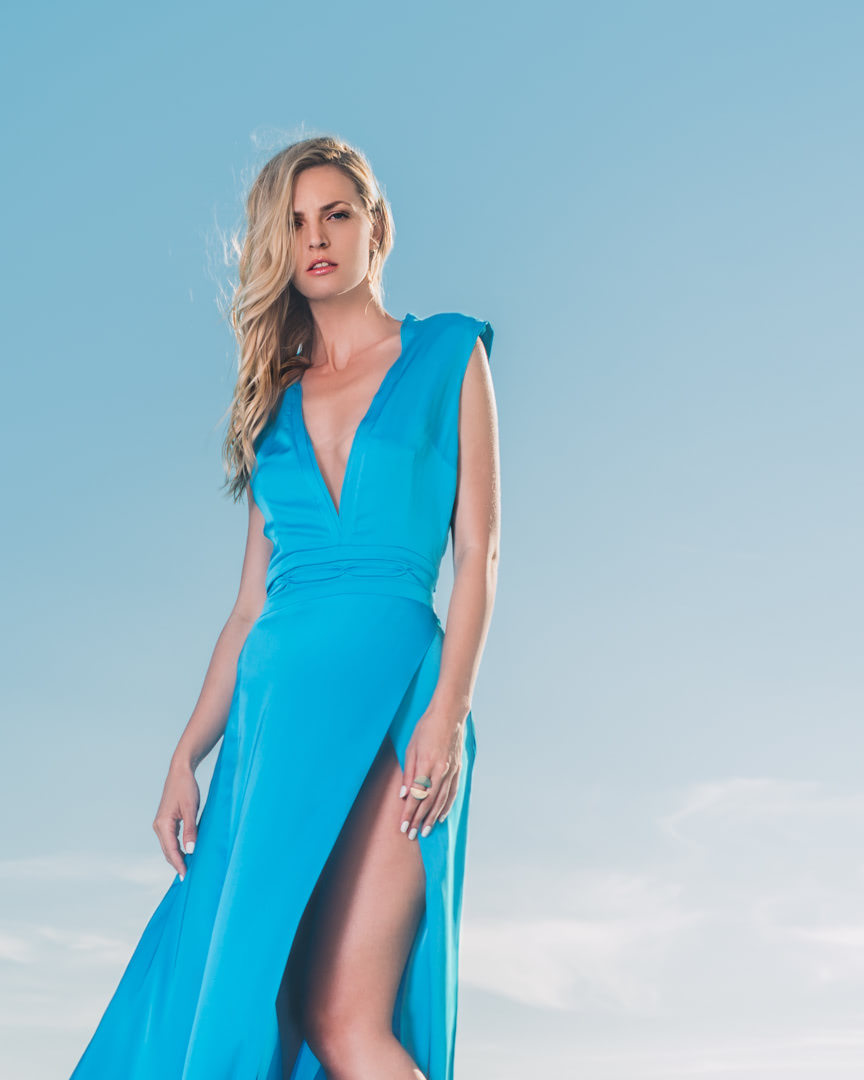 016 - CRYSTAL WATTER - Turquoise Blue Silk Dress - 0001a