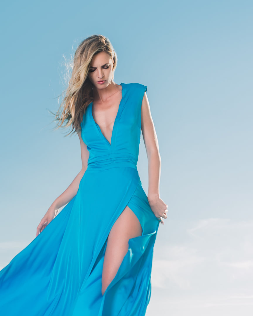 016 - CRYSTAL WATTER - Turquoise Blue Silk Dress - 0002a