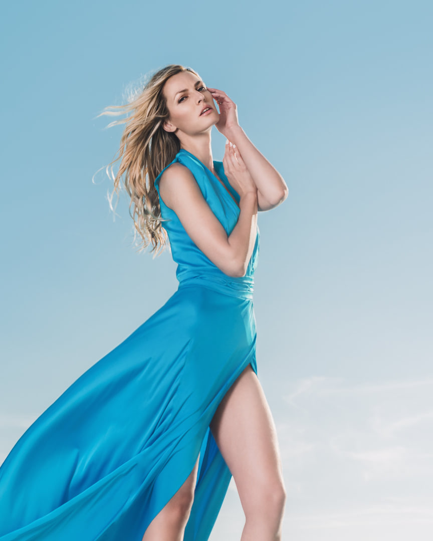 016 - CRYSTAL WATTER - Turquoise Blue Silk Dress - 0003a