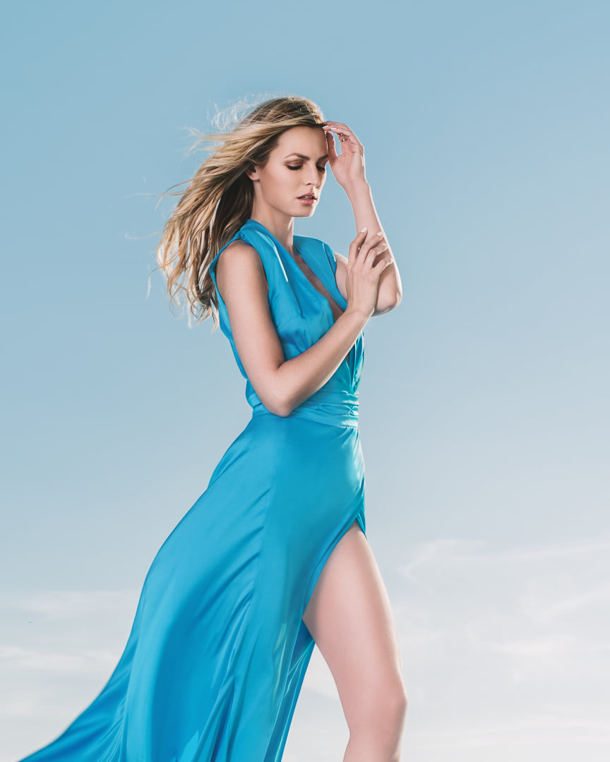 016 - CRYSTAL WATTER - Turquoise Blue Silk Dress - 0004a
