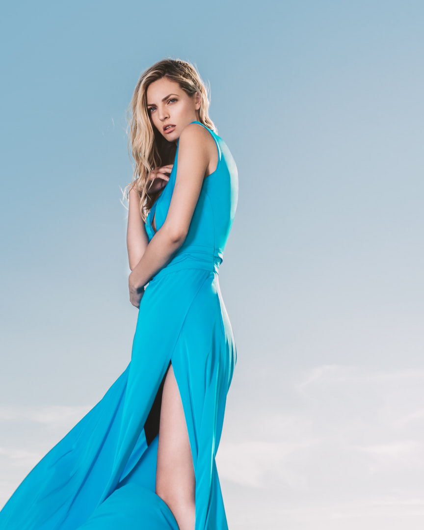 016 - CRYSTAL WATTER - Turquoise Blue Silk Dress - 0005a