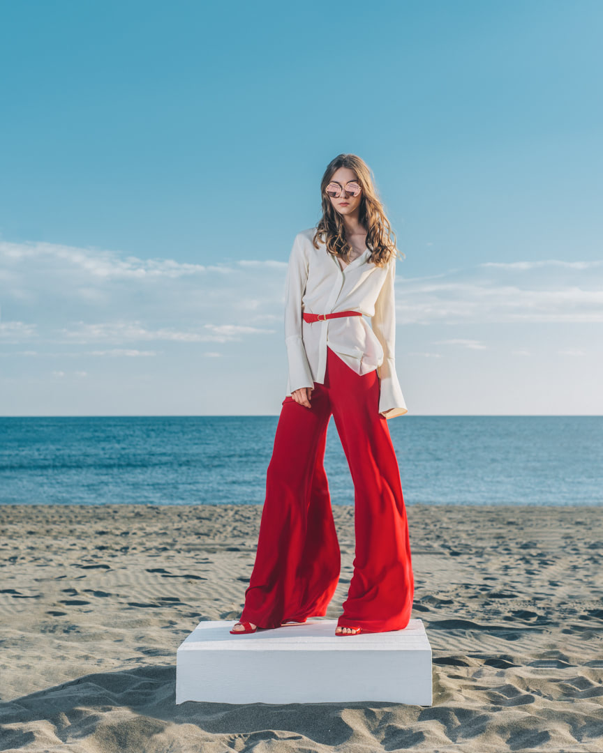 001 - FRESH LIGHT BREEZE - Ivory Silk Blouse And Red Pants - 0001