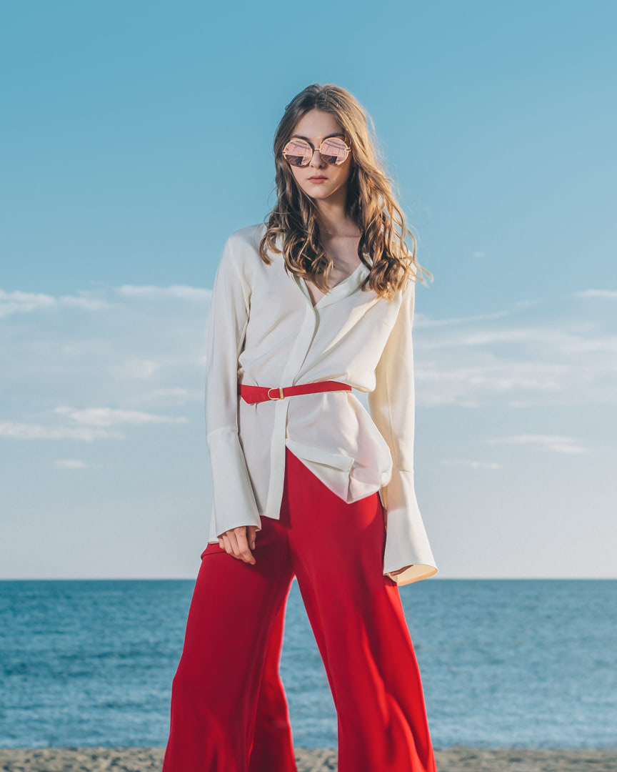 001 - FRESH LIGHT BREEZE - Ivory Silk Blouse And Red Pants - 0001a