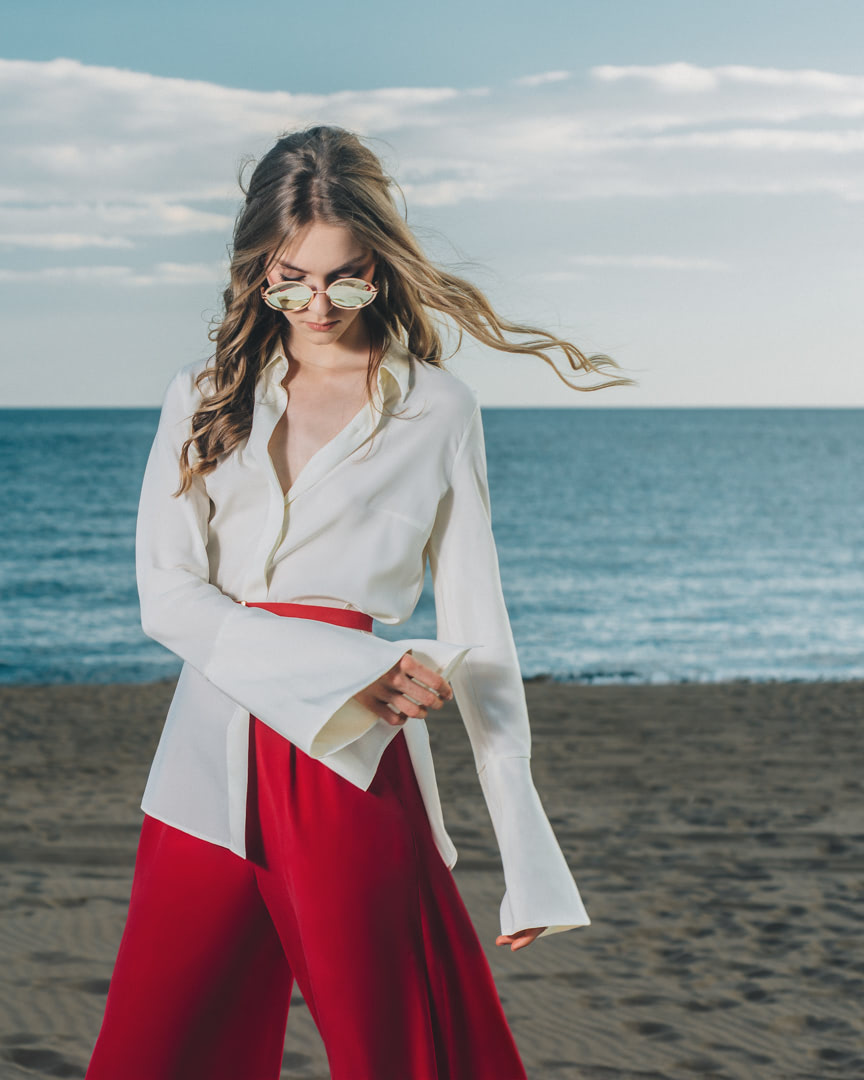 001 - FRESH LIGHT BREEZE - Ivory Silk Blouse And Red Pants - 0002a