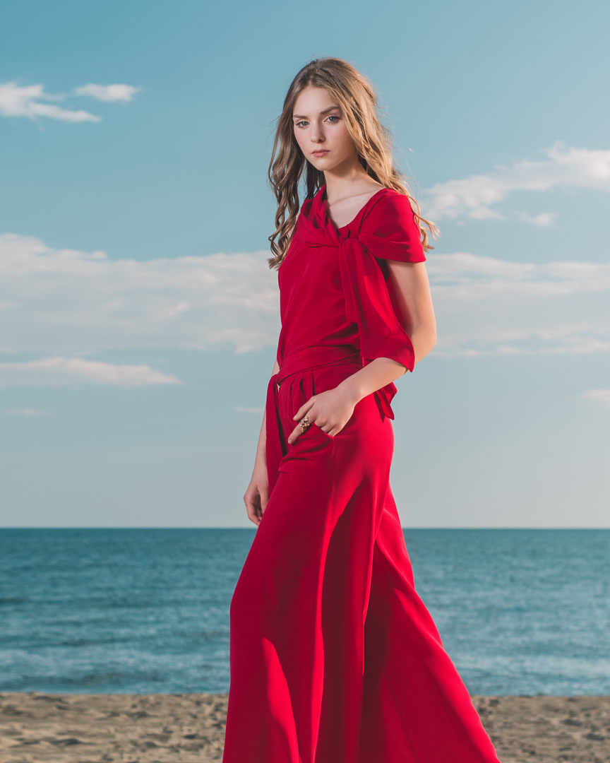 002 - CARMINE - Red Blouse And Pants - 0001a