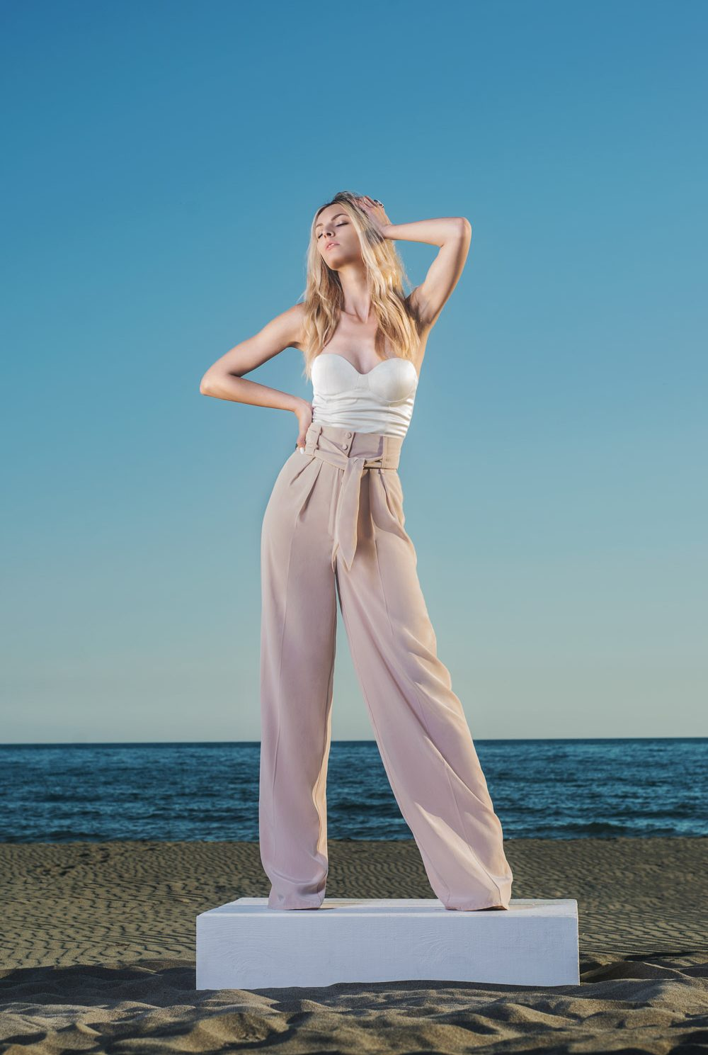 Dusty Rose / White Top and Rose Pants